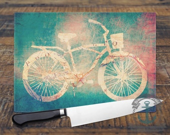 Glass Cutting Board - Provincetown Bicycle Cape Cod | Nautical Beach House Decor | Small or Large Kitchen Art for Your Countertop
