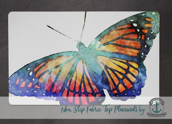 Placemat - Butterfly | Watercolor Nature Insect Decor | Anti Skid/Non Slip Fabric Top Rubber Backed Awesomeness