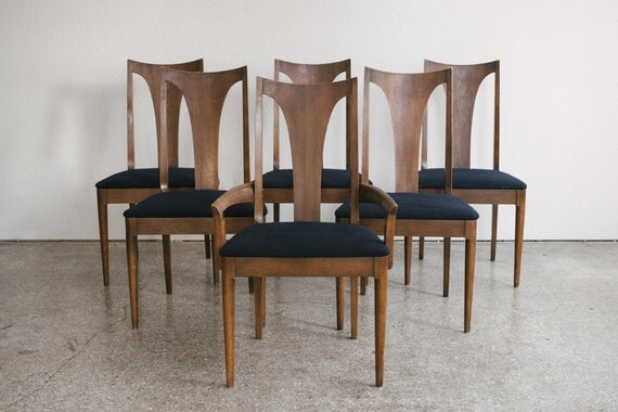Set Of 6 Mid Century Dining Chairs Broyhill Sculptra