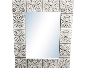 Large Snowflake 16 in. 22 in. tin framed mirror