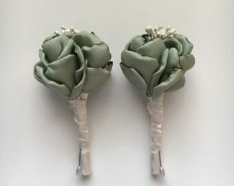 Sage Green and Cream Boutonniere - Fabric Flower Boutonniere, Fabric Wedding Flowers, Fabric Flowers, Alternative Wedding Flowers, Sage