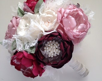 Fabric Bouquet - Cranberry, Wine Red, Pale Dusty Pink, and Sage Green - Fabric Flowers, Extra Large Half