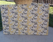 "PinBoard Corkboard Cork Bulletin Message Pin Dream Board 23"" x 35"" Gray / Grey, Yellow, Black & White Floral Fabric Brushed Nickel NailHeads"