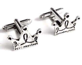 SALE Silver Crown Cufflinks, Men's Handcrafted Royalty Ruler King Prince Cuff Links- Groom Wedding Prom Gift for Man