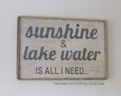 Sunshine and Lake Water is all I need... Vintage White and Grey Large Wooden Handpainted Rustic Sign Wall Art 24x16, The Funki Little Frog