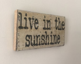 Live in the Sunshine Small Rustic White Distressed Wooden Handpainted Word Art Sign on Reclaimed Wood, The Funki Little Frog Quick Quotes