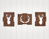 Antlers, Deer, Rustic Nursery Decor, Set of 3, woodland animals, Buck, nursery decor, Wooden decor, boy nursery or girl nursery decor
