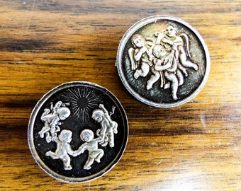Vintage Pair of Alex Shagin Silver Decorative Medallions Medals Coins, Unique One of a Kind Present for Exonumia Collector, Stocking Filler