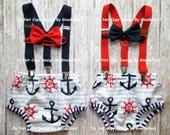 Nautical Birthday outfit cake smash suspenders anchor chevron boy first optional HAT gray blue Navy diaper cover bow tie 12 18 24 toddler