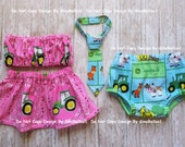John Deere Birthday cake smash outfit pink tractor Barnyard farm animals boy or girl tube top skirt tie diaper cover set 9 12 18 24 toddler