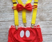Mickey Mouse Birthday cake smash outfit Suspenders ears diaper Cover OR Shorts & RED bowtie baby costume 12 18 24 toddler Ready to Ship SALE
