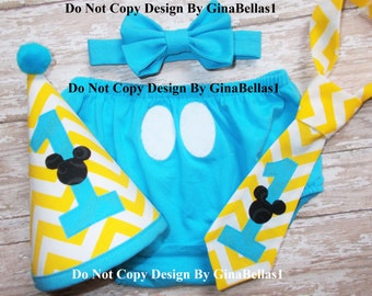 Mickey Mouse Birthday cake smash chevron baby blue outfit costume first clubhouse diaper cover I am 1 bow tie Hat GINABELLAS1 12 18 toddler