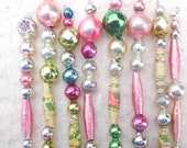 8 Vintage Pastel Christmas Icicle Ornaments Mercury Glass Garland Beads  (set 1)