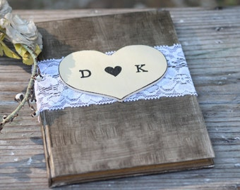 "Wedding Guest Book, Advice For The Bride Book, Bridal Shower Guest Book, Lace and Personalized Heart, Shabby Chic, Rustic Weddings, 5"" x 7"""