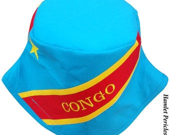 Congo Flag Bucket Hat   DR Congo Flag Hat   Congolese   Country Hat   Africa   Yellow Sky Blue Red   Embroidered Hat by Hamlet Pericles