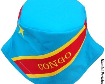 Congo Flag Bucket Hat | DR Congo Flag Hat | Congolese | Country Hat | Africa | Yellow Sky Blue Red | Embroidered Hat by Hamlet Pericles