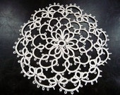 Handcrafted Ivory Tatting Doily - Home decor - Housewarming - tatting shuttle - table decor - lace coaster - gift for her - OOAK