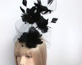 Black Feather flower Fascinator, Royal Ascot Hat, Cocktail Hat, Bridal Headpiece, Hand-made