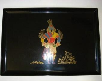 "Couroc Monterey CA Large 18"" Inlaid Tray w/ Native American Eagle Dancer - Southwest Kachina"