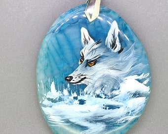Hand Painted Dog Wolf on Blue Agate Pendant