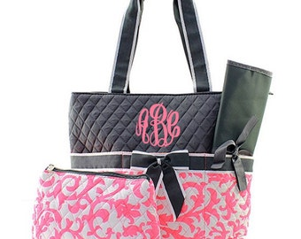 Monogrammed Diaper Bag Personalized Coral Damask Diaper Bag Damask Diaper Bag Monogrammed Diaper Bag 3 Piece Quilted Diaper Bags