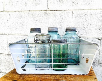 Industrial WIRE & METAL Storage BASKET | Vintage (1940's-1950's) Kitchen Refrigerator Metal Vegetable Crisper Drawer | White Rectangular Box
