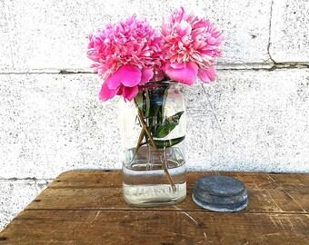 ATLAS CANNING JAR | Vintage (c.1920-1930's) Clear Glass Mason Jar | Square Quart Jar | H over A Hazel-Atlas Glass | Zinc Lid | Old Fruit Jar