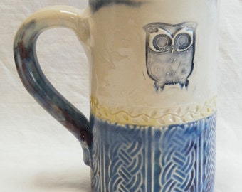 Owl ceramic coffee mug 16oz stoneware 16B052