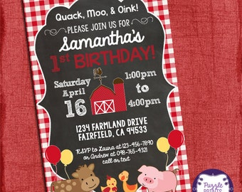 Farm Birthday Party Invitation - Boy or Girl- 1st Birthday- Old McDonald Country Birthday Party-I design you print