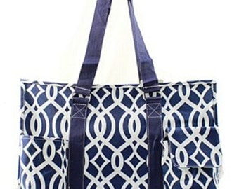 Monogrammed Large Vine Organizing Tote Bag - TEACHER Bag - Carryall Tote -Utility Tote Bag - Pool Bag - Beach Bag - Summer Tote
