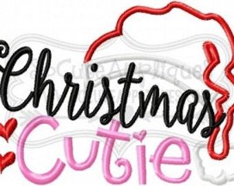 Christmas Cutie -  Christmas Shirt - Girl's Holiday Shirt Design - Christmas Applique Shirt