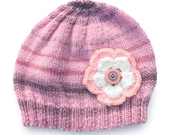 Girls Retro HANDMADE Pretty Pink and Lilac Knitted Wool Beanie & Flower and Buttons . Size - Age: 4 5 6 7 8 . OOAK . Made in Australia
