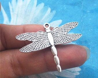 50pc 38x29mm antiqued silver filigree  Dragonfly charms findings connectors