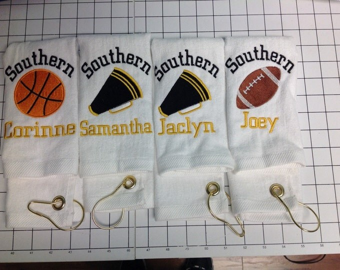 Personalized sport towels, track and field, cheer, baseball, softball, football, soccer, tennis, fitness,  sport towel