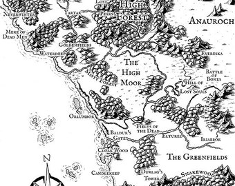 Illustrated Map of The Sword Coast