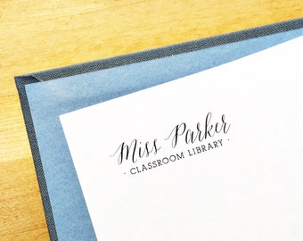 Classroom Library Stamp. Gift for Teacher. Style #6. Personalized Bookplate Stamper. Custom Library Stamp. Wooden or Self Inking Stamper.