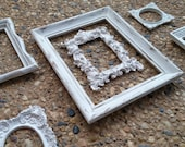 6 Piece Off White Vintage Frame Collection, Ornate Baroque Frame, Mother Goose, 8 x 10 5 x 7 Ornate Frame Set, Gallery Wall Shabby Frames