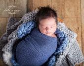 Stretch wrap - 'DENIM' newborn stretch wrap  / scarf - prop blanket - knitbysarah - Stitches by Sarah