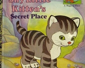 SUMMER SALE 20% Off The Shy Little Kitten's Secret Place, Vintage Little Golden Book