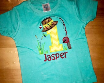 1st First, Birthay, Fishing Themed, Custom, Embroidered Shirt, Boy shirt, Girl Shirt, Birthday Shirt, Birthday Gift