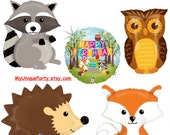 Woodland Balloons Fox Raccoon Hedgehog Owl Woodland Party Happy Birthday Mylar Balloons Helium or Air