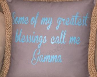Some of my greatest blessings call me Nonnie Gamma Mammaw Grandma Grandpa Pop Pa Mom Dad Auntie Pillow Burlap Jute Trim Pillows