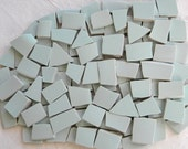 MINT Julep GREEN - Solid Color Stoneware Mosaic Tiles - Recycled Plates - 50 Tiles