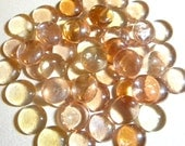 SALE - 50 Glass Gems - PEACH-Y PINK Champagne Color - Mosaic Supplies/Floral/Wedding/Candle Displays - Half Marbles/Pearls