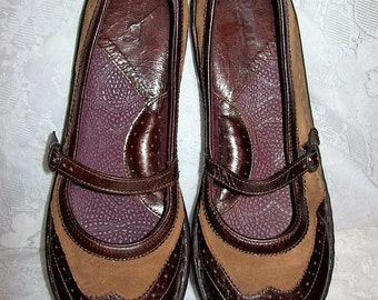 Vintage Ladies Dark & Light Brown Leather Mary Janes by BORN Size 9 1/2 Only 10 USD