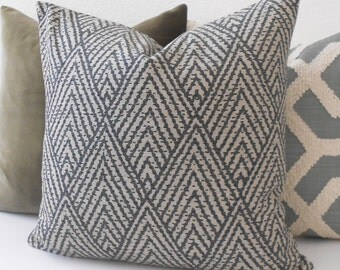 Gray and tan chevron diamond decorative throw pillow cover