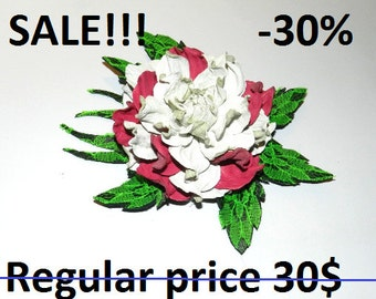 SALE -30%! Flower brooch, Natural leather flower brooch - white and pink rose with green leaves!