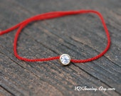 Thin Red Silk Cord, Veimeil Mini CZ pendant, Tie on, Bracelet / Anklet, Adjustable, Zodiac Year jewelry, Birthday Gift, Anniversary, Wedding