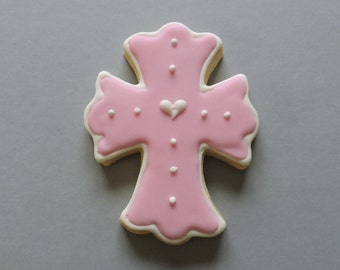 Cross of Love Hand decorated Cross cookie favors with center hearts (#2399)