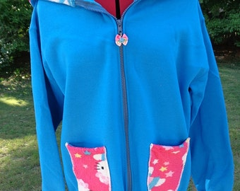 SALE: OOAK hoodie with hello kitty print medium ready to ship